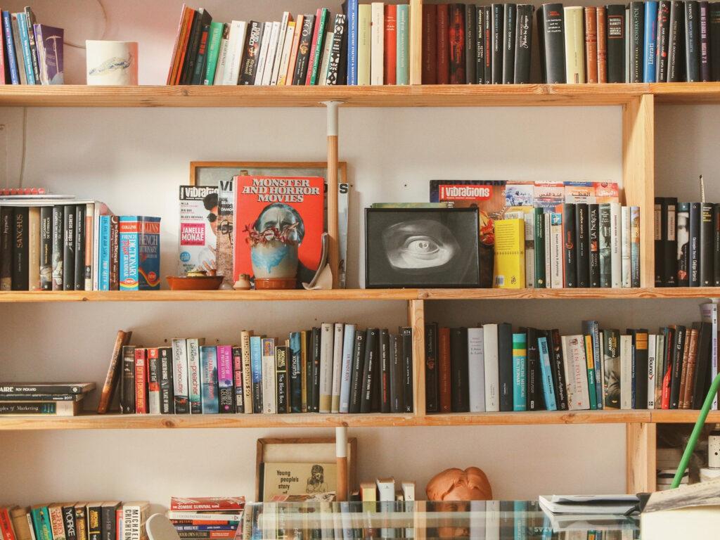display books on shelves